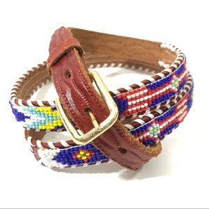 VTG Beaded Genuine Brown Leather Jackson Hole Belt
